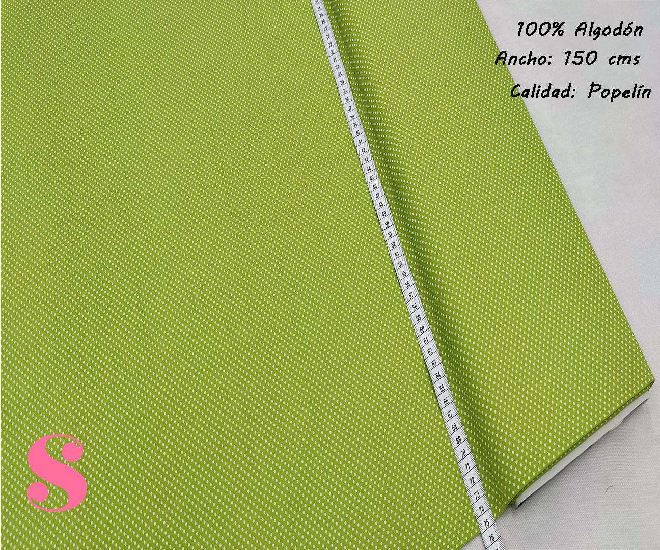 Tejido Algodón Estampado Topos Blanco Fondo Verde Pistacho,topitos-fondo-verde-pistacho-tejidos-algodón-estampado-popelin