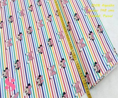 minnie-arcoiris-tejidos-algodón-estampado-percal,Tejido Estampado Minnie Rayas