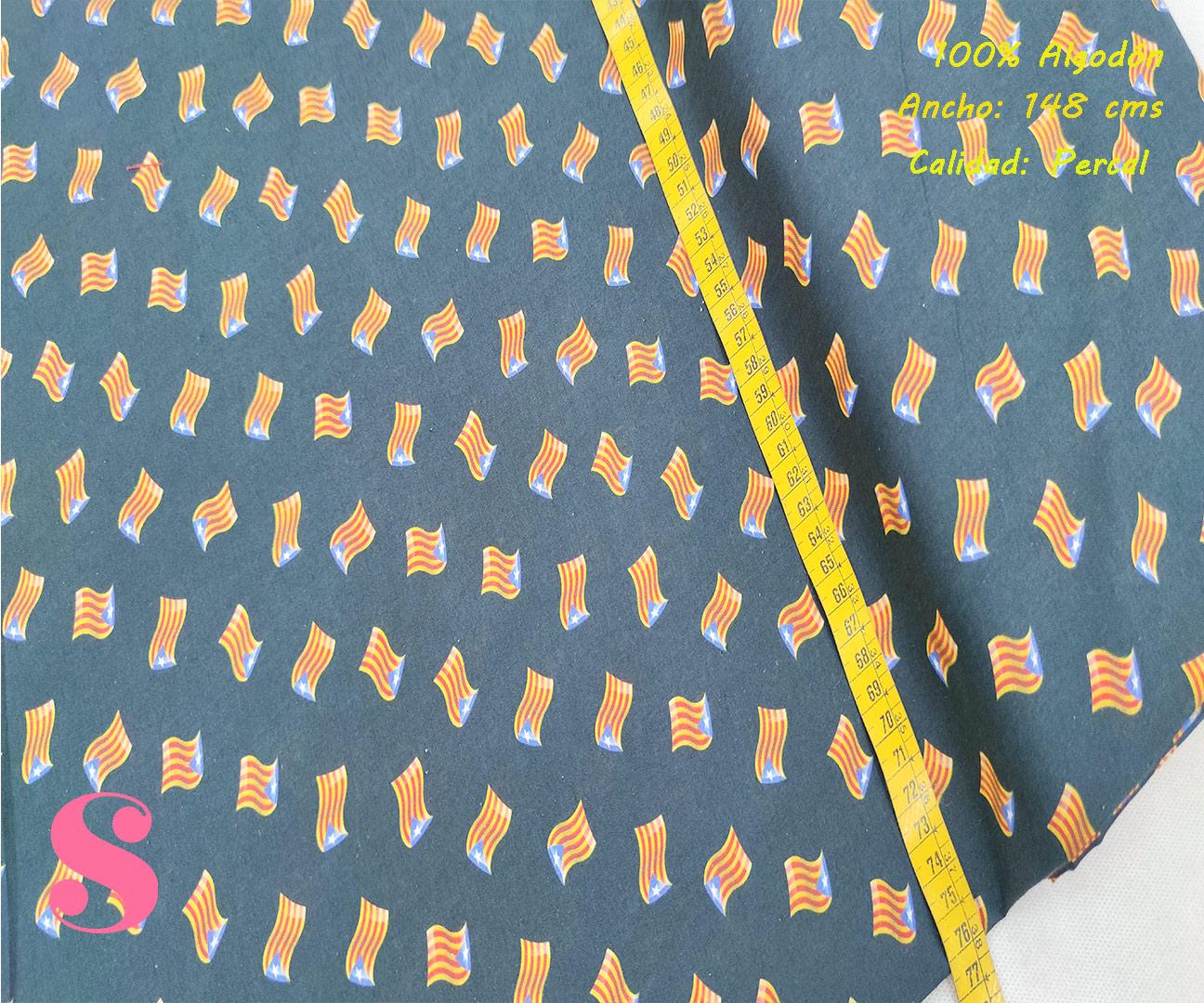 446-banderitas-estelada-cataluña-independentismo-tejidos-algodón-estampado-percal,Tejido Algodón Estampado Banderitas Estelada