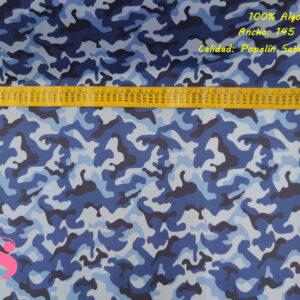 448 Percal Estampado Camuflaje Azul