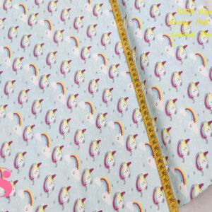 448 Tejido Infantil Estampado Unicornio Fondo Celeste