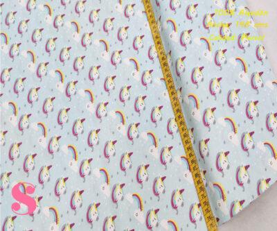 448-unicornios-y-arcoiris-fondo-celeste-tejidos-algodón-estampado-percal,Tejido Infantil Estampado Unicornio Fondo Celeste