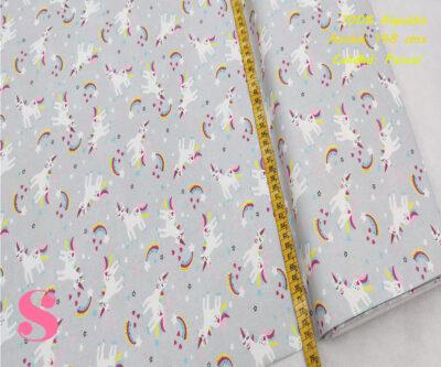 449-unicornios-y-arcoiris-fondo-gris-tejidos-algodón-estampado-percal,Tejido Infantil Estampado Unicornio Fondo Gris