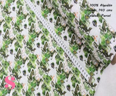 L15-jurasic-park-americano-tejidos-algodón-estampado-percal,Tejido Estampado Jurassic Park Velociraptor