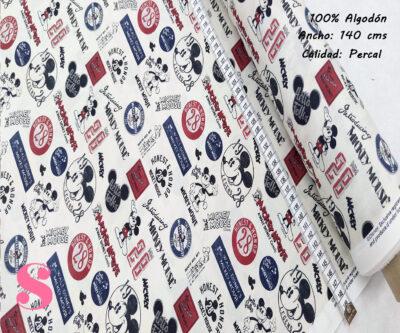 L17-mickey-mouse-historia-leyenda-disney-americano-tejidos-algodón-estampado-percal,Tejido Estampado Mickey Mouse Leyenda