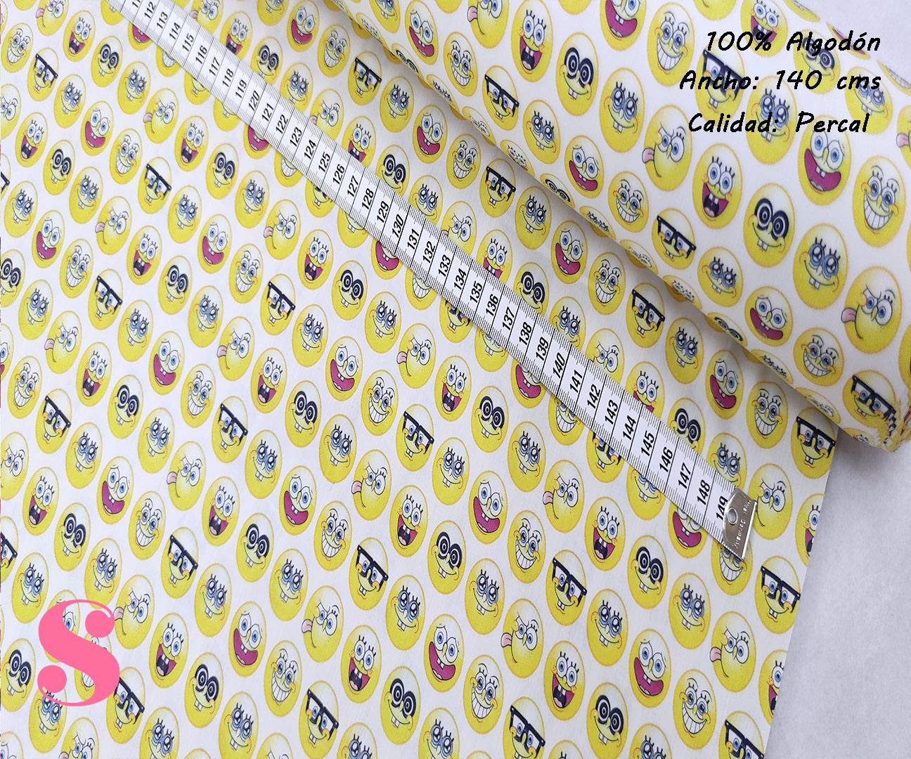 L19-emoticonos-caras-americano-tejidos-algodón-estampado-percal,Tejido Estampado Bob Esponja Emoticonos