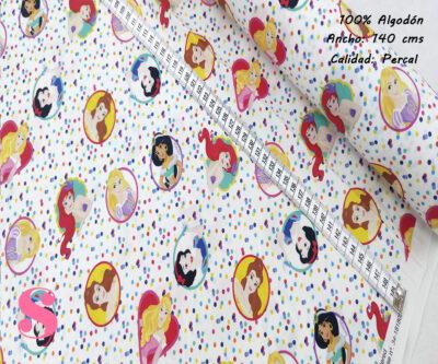 L20-princesas-disney-lunares-americano-tejidos-algodón-estampado-percal,Tejido Estampado Princesas Disney Lunares
