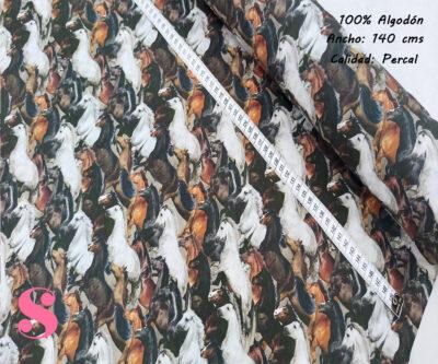 L25-caballos-americano-tejidos-algodón-estampado-percal,Tejido Estampado Caballos