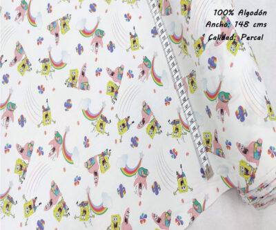 L26-bob-esponja-patricio-arcoiris-superheroes-americano-tejidos-algodón-estampado-percal,estampados originales,Tejido Estampado Bob Esponja y Patricio Arcoiris