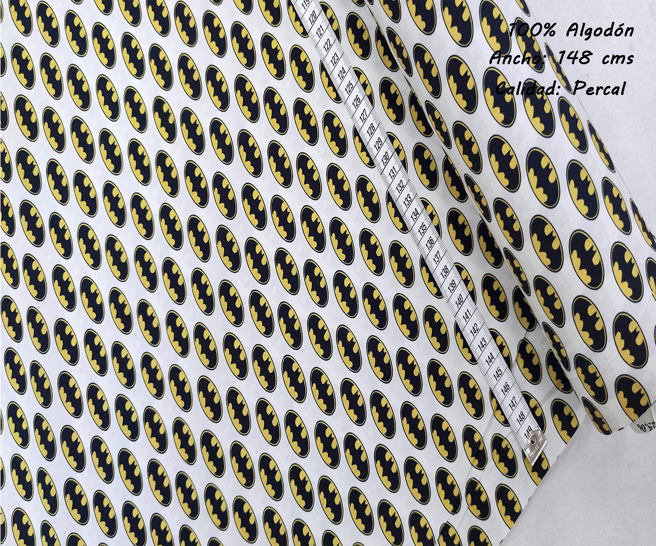 L33-barman-logotipos-liga-justicia-superheroes-americano-tejidos-algodón-estampado-percal,estampados originales con licencia,Tejido Estampado Batman Logotipo
