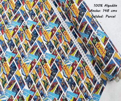L36-liga-justicia-comic-viñetas-superheroes-americano-tejidos-algodón-estampado-percal,estampados originales con licencia,Tejido Estampado Liga de la Justicia Comic Viñetas