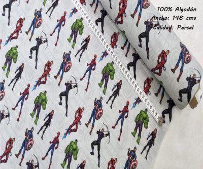 L42-marvel-accion-superheroes-americano-tejidos-algodón-estampado-percal,estampados originales con licencia,Tejido Estampado Marvel-Los Vengadores