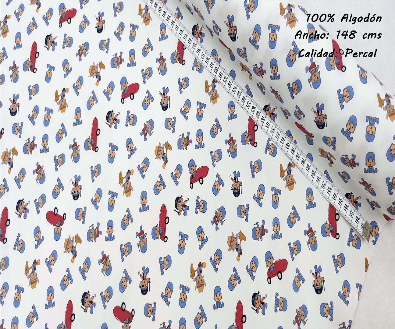 L47-pocoyo-disfraces-superheroes-americano-tejidos-algodón-estampado-percal,estampados originales con licencia,Tejido Estampado Pocoyó Disfraces