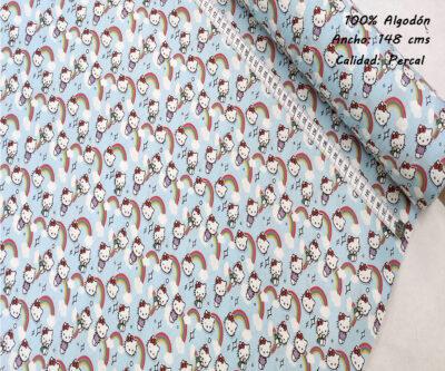 L48-hello-kitty-arcoiris-superheroes-americano-tejidos-algodón-estampado-percal,estampados originales con licencia,Tejido Estampado Hello Kitty Arcoiris