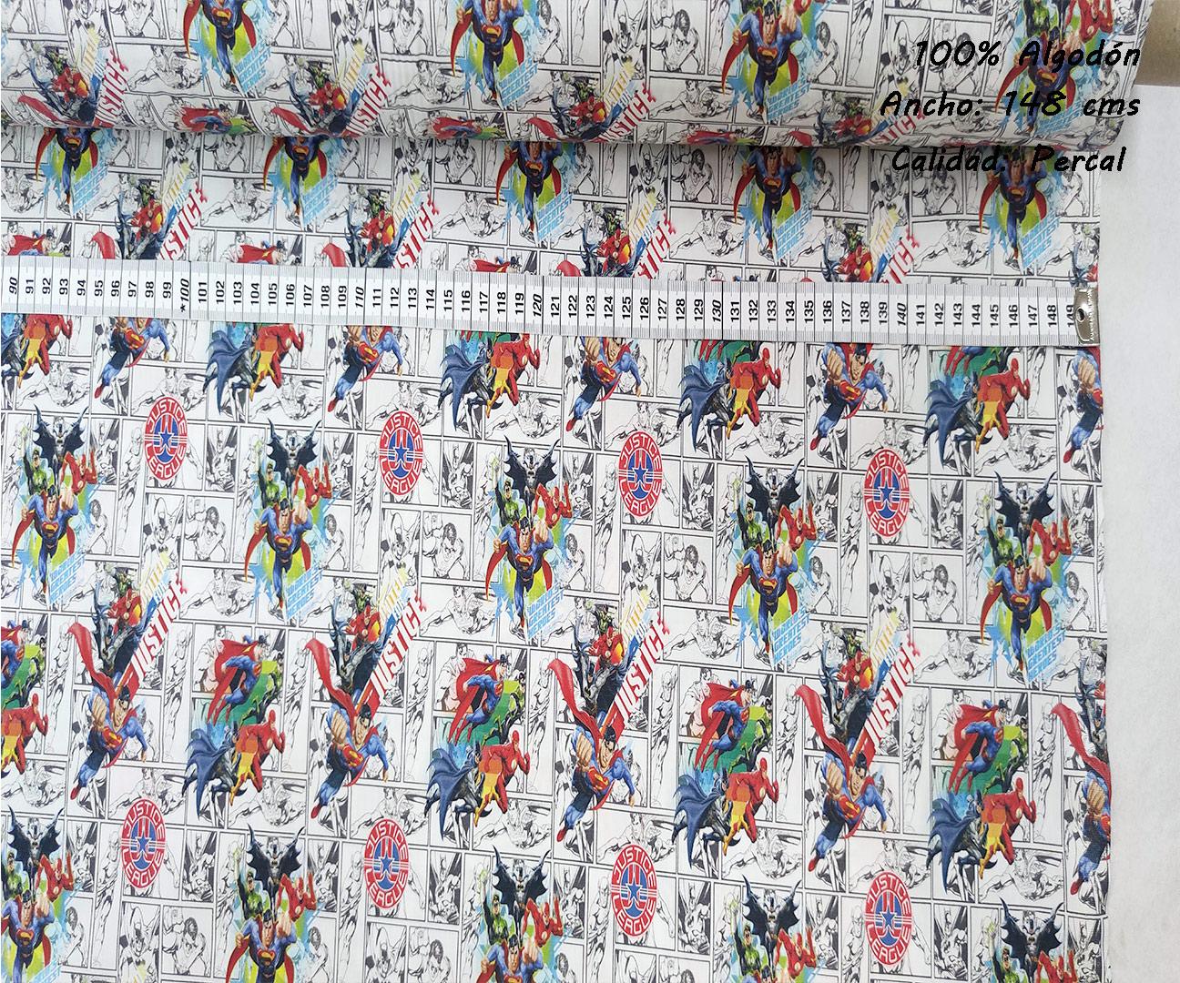 L35-liga-justicia-comic-blanco-negro-superheroes-americano-tejidos-algodón-estampado-percal,estampados originales con licencia,Tejido Estampado Liga de la Justicia Comic Blanco y Negro