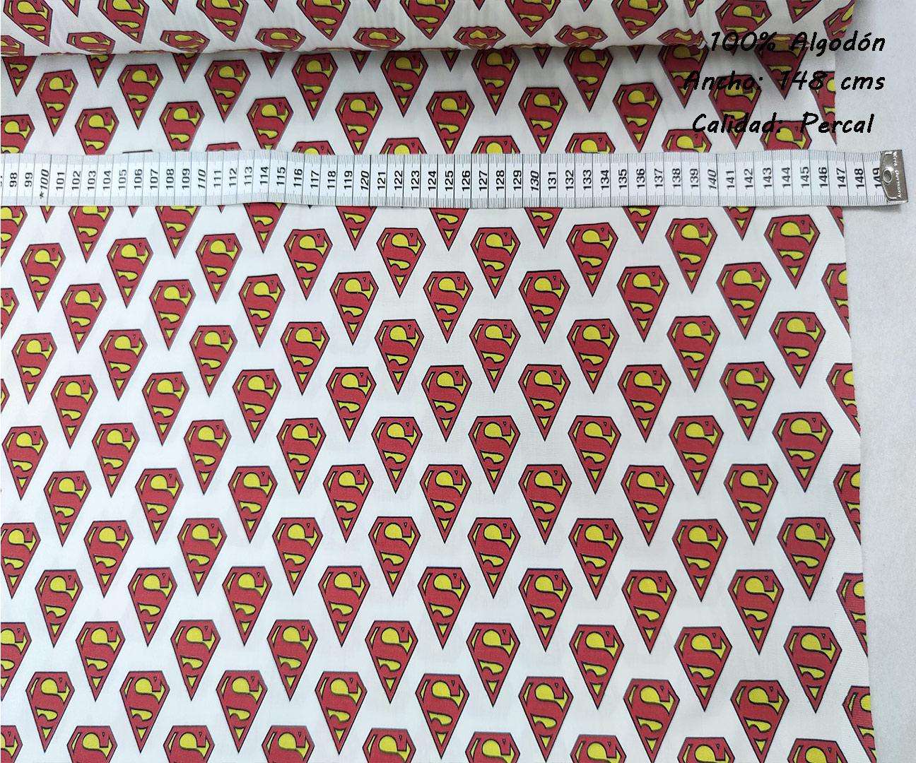 superman-logotipos-liga-justicia-superheroes-americano-tejidos-algodón-estampado-percal,estampados originales con licencia,Tejido Estampado Superman Logotipo