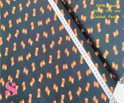 464-banderas-españa-ondulada-tejidos-algodón-estampado-percal,Tejido Estampado Banderitas España Onduladas Fondo Negro