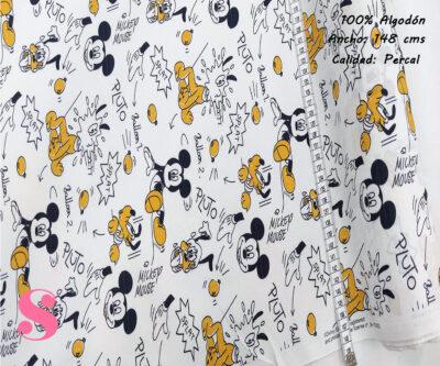 465-mickey-mouse-y-pluto-disney-tejidos-algodón-estampado-percal,Tejido Estampado Mickey y Pluto