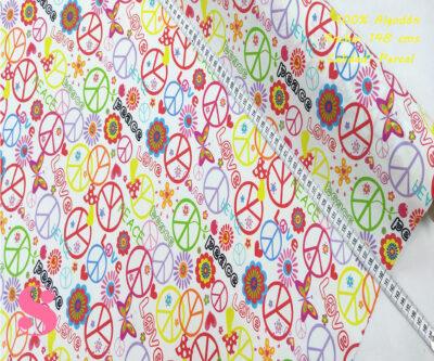 471-signo-hippie-paz-tejidos-algodón-estampado-percal,Tejido Estampado Símbolo de la Paz