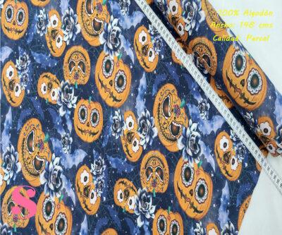 472-hallowen-calabazas-tejidos-algodón-estampado-percal,Tejido Estampado Calabazas Halloween