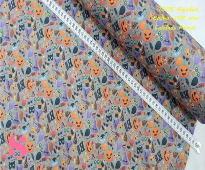 473-hallowen-caretas-miedo-tejidos-algodón-estampado-percal,Tejido Estampado Motivos Halloween