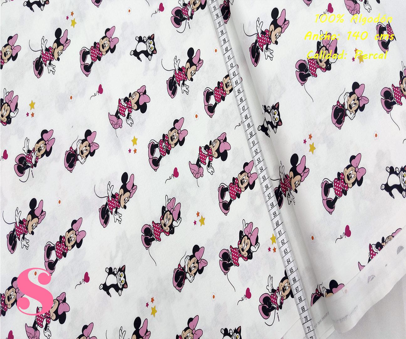 483-minnie-mouse-presumida-gris-patch-americano-tejidos-algodón-estampado-percal,Tejido Estampado Patch Americano Minnie Presumida
