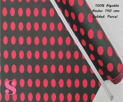 484-lunares-flamencos-grande-fondo-negro-tejidos-algodón-estampado-percal,Tejido Estampado Lunar Flamenco Grande Fondo Rojo