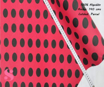 486-lunares-flamencos-grande-fondo-rojo-tejidos-algodón-estampado-percal,Tejido Estampado Lunar Flamenco Grande Fondo Rojo