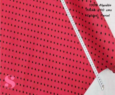 486-lunares-flamencos-lenteja-fondo-rojo-tejidos-algodón-estampado-percal,Tejido Estampado Lunar Flamenco Pequeño Fondo Rojo