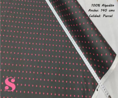 488-lunares-flamencos-lenteja-fondo-negro-tejidos-algodón-estampado-percal,Tejido Estampado Lunar Flamenco Pequeño Fondo Negro