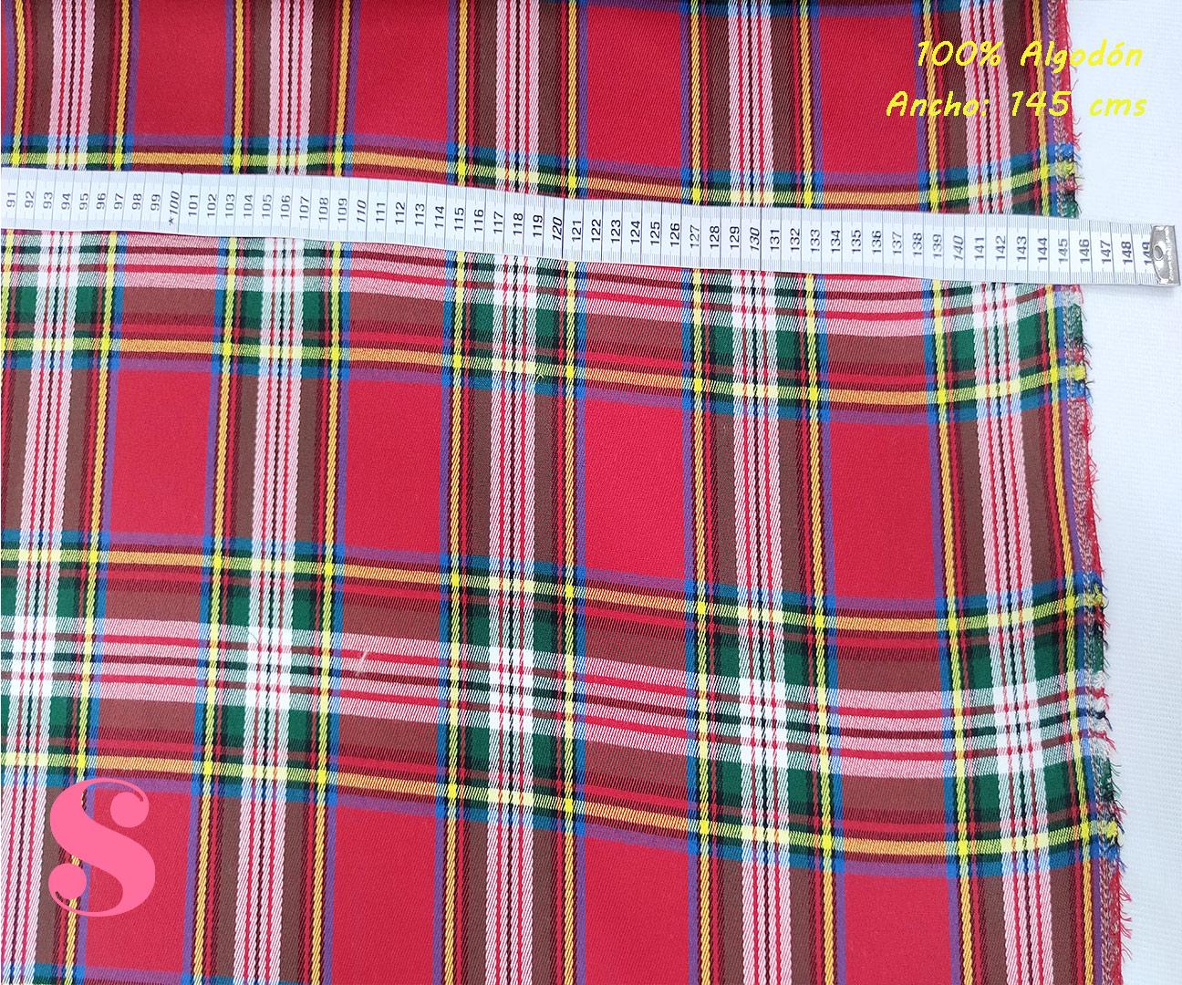 490-cuadros-colegio-tejidos-algodón-estampado-percal,Tejido Estampado Cuadros Colegial Rojo
