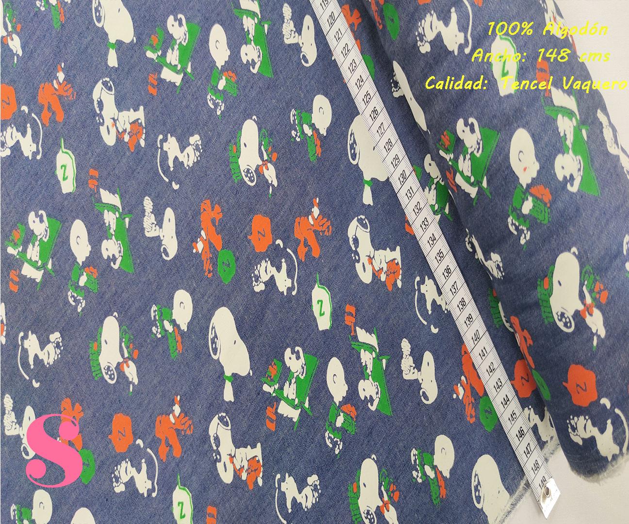 494-snoopy-tencel-vaquero-tejidos-algodón-estampado-percal,Tejido Tencel Vaquero Estampado Snoopy