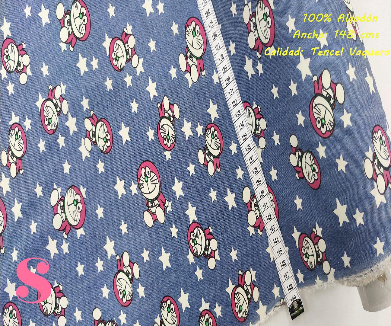 495-doraemon-estrellitas-tencel-vaquero-tejidos-algodón-estampado-percal,Tejido Tencel Vaquero Estampado Doraemon