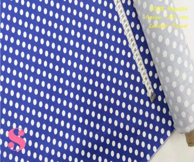 496-lunares-flamencos-fondo-azul-tejidos-algodón-estampado-percal,Tejido Estampado Lunar Flamenco Fondo Azul