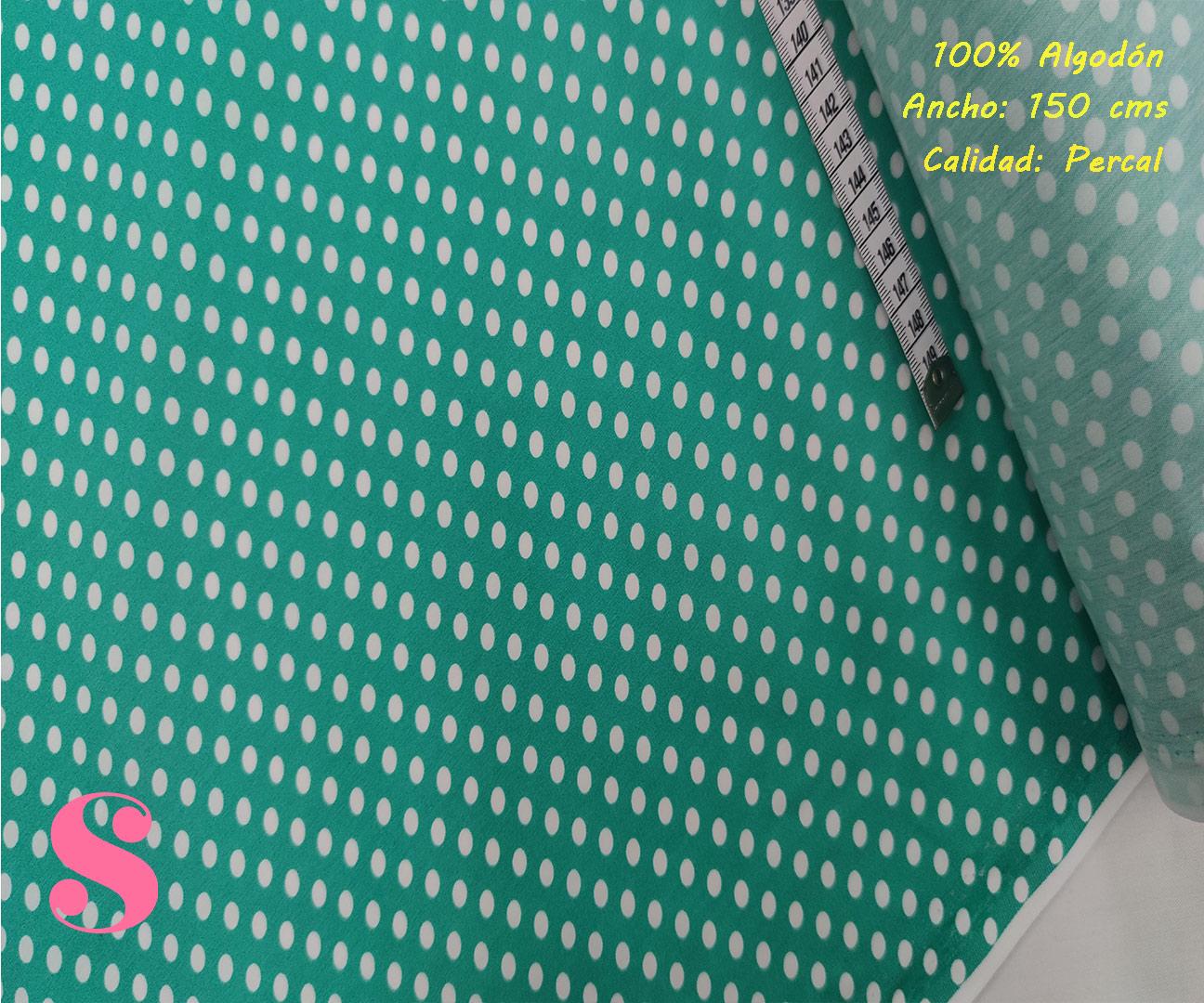 496-lunares-flamencos-lenteja-fondo-verdetejidos-algodón-estampado-percal,Tejido Estampado Lunar Flamenco Fondo Verde