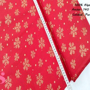 499 Tejido Estampado Copos de Nieve Dorados Fondo Rojo