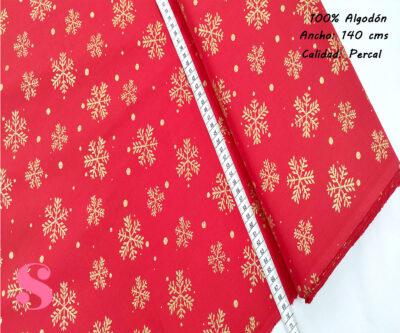 499-hoja-navidad-fondo-rojo-tejidos-algodón-estampado-percal,Tejido Estampado Copos de Nieve Dorados Fondo Rojo