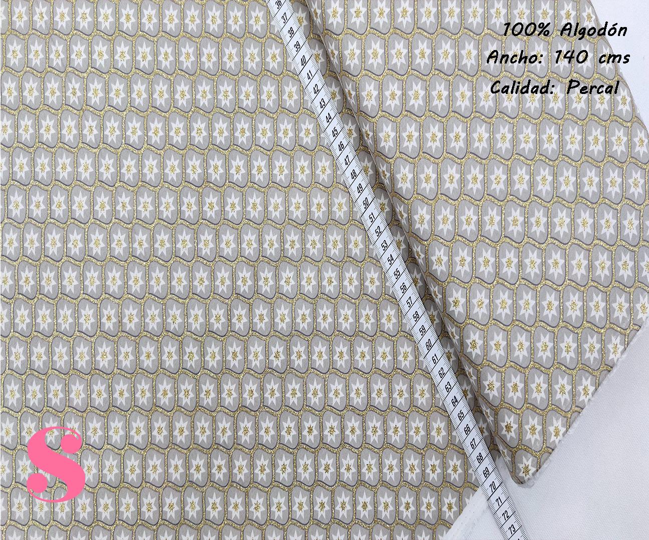 500-estrella-motivos-navidad-tejidos-algodón-estampado-percal,Tejido Estampado Motivos de Navidad Estrella