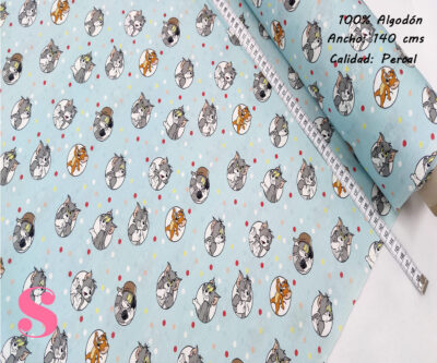 513-tom-y-jerry-tejidos-algodón-estampado-percal,Tejido Estampado Tom & Jerry