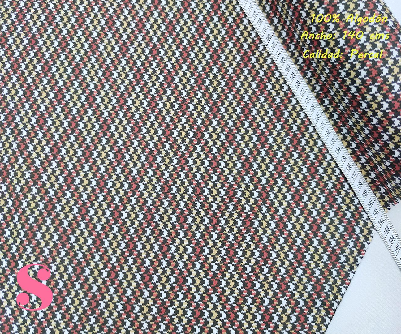517-corbatero-pata-gallo-tejidos-algodón-estampado-percal,Tejido Estampado Pata Gallo Tonos Ocres