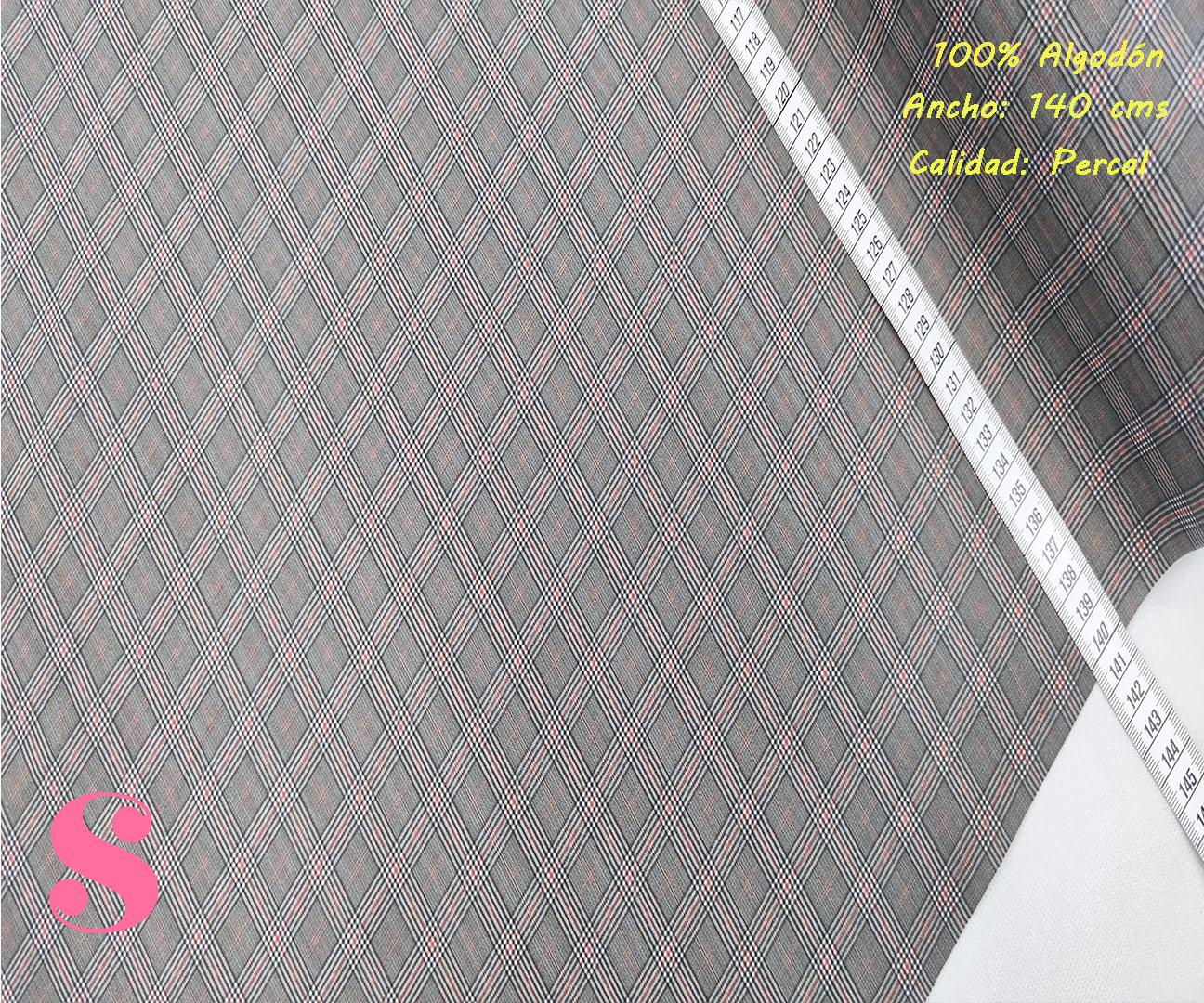 518-pañuelo-cuadros-rayas-tejidos-algodón-estampado-percal,Tejido Estampado Cuadro de Gales Mini