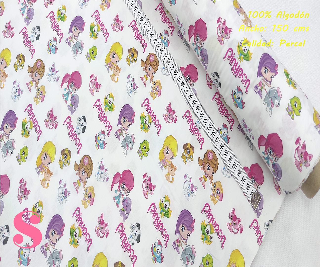 L53-pinypon--tejidos-algodón-estampado-percal,ejido Estampado Pinypon Mascotas