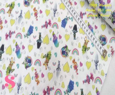 L54-los-trolls-tejidos-algodón-estampado-percal,Tejido Estampado Trolls Arcoiris