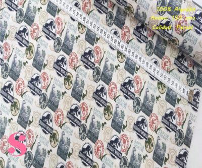 L57-jurassic-logotipos-americano-tejidos-algodón-estampado-percal,Tejido Estampado Jurassic World Logotipos Raptor