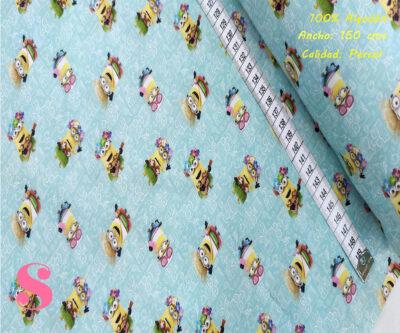 L59-minnions-hawai-vacaciones-americano-tejidos-algodón-estampado-percal,Tejido Estampado Minnios Hawaianos