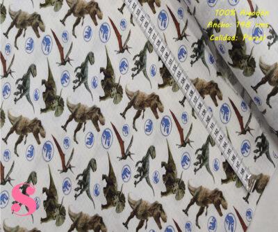 L61-jurassic-tipos-tejidos-algodón-estampado-percal,Tejido Estampado Jurassic World Especies Hoja de Cuaderno