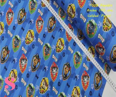 L62-patrulla-canina-fondo-azul-tipos-tejidos-algodón-estampado-percal,Tejido Estampado Patch Americano Patrulla Canina Fondo Azul