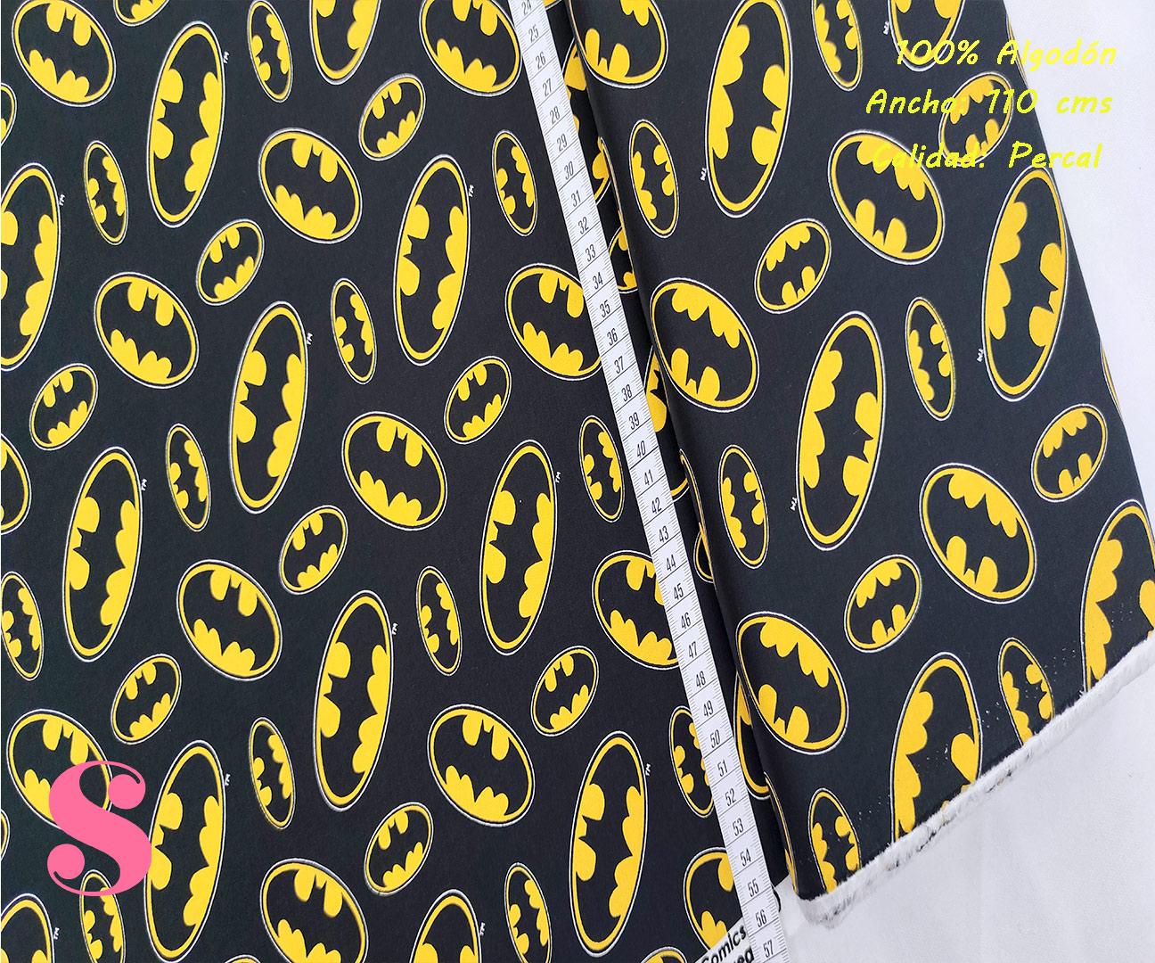 L65-batman-logotipo-fondo-negro-patch-americano-tejidos-algodón-estampado-percal,Tejido Estampado Patch Americano Batman Logotipo