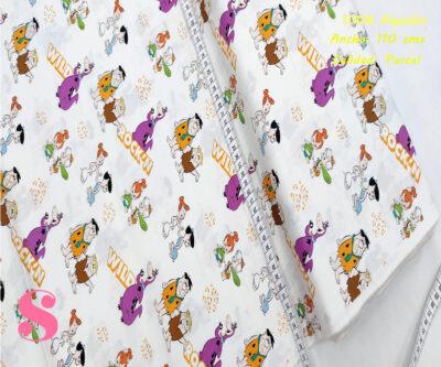 L68-los-picapiedra-fondo-blanco-patch-americano-tejidos-algodón-estampado-percal,Tejido Estampado Patch Americano Los Picapiedra Fondo Blanco