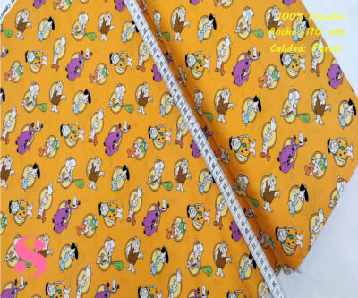 L69-los-picapiedra-fondo-naranja-patch-americano-tejidos-algodón-estampado-percal,Tejido Estampado Patch Americano Los Picapiedra Fondo Naranja